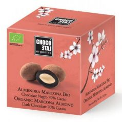Almendra Marcona Bio con Chocolate Negro 70% Cacao 80gr. Chocolate Orgániko. 9 Unidades