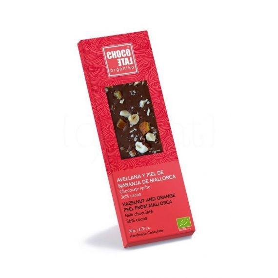 Chocolate con Leche 36% Cacao con Avellana y Piel de Naranja de Mallorca 50g. Chocolate Orgániko. 10 Unidades