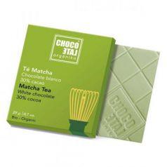Chocolate Blanco 30% Cacao con Té Matcha 20g. Chocolate Orgániko. 18 Unidades
