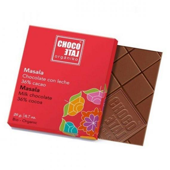 Chocolate con Leche 36% Cacao Masala 20g. Chocolate Orgániko. 18 Unidades