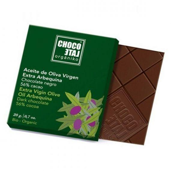 Chocolate Negro 56% Cacao con Lima BIO 20g. Chocolate Orgániko. 18 Unidades