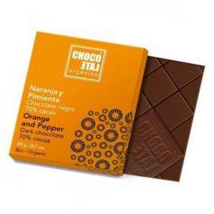 Chocolate Negro 70% Cacao con Pimienta Negra y Naranja 20g. Chocolate Orgániko. 18 Unidades