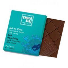 Chocolate Negro 70% Cacao con Flor de Sal de Ibiza 20g. Chocolate Orgániko. 18 Unidades