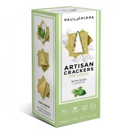 Artisan Crackers con Albahaca 100gr. Paul & Pippa. 6un
