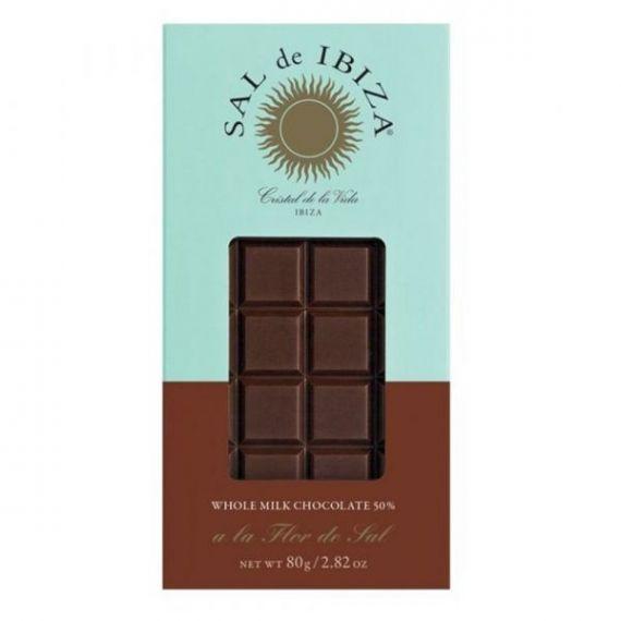 Chocolate con leche y Flor de Sal Bio 80gr. Sal de Ibiza. 12 Unidades