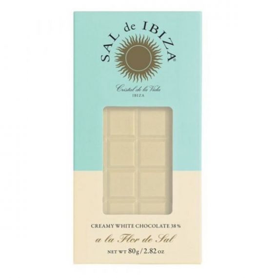 Chocolate Blanco con Flor de Sal Bio 80gr. Sal de Ibiza. 12 Unidades
