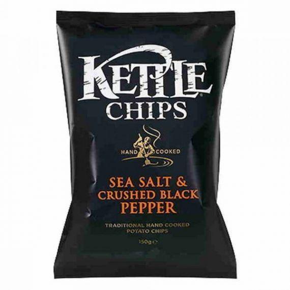 Patatas fritas con Sal y Granos de Pimienta Negra Molida 150gr. Kettle Chips. 8 Unidades