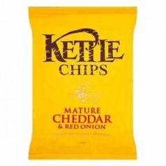 Patatas fritas con Queso Cheddar Curado y Cebolla Roja 150gr. Kettle Chips. 8 Unidades