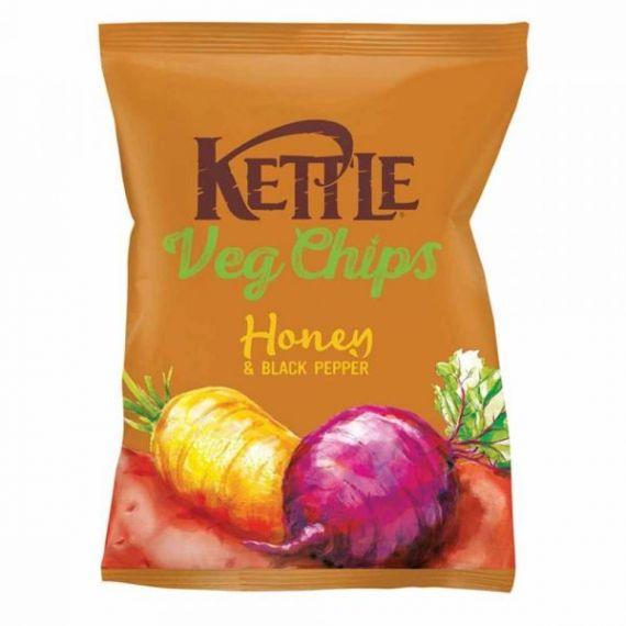 Chips Vegetales fritos con Sal, Miel y Pimienta Negra 100gr. Kettle Chips. 10 Unidades