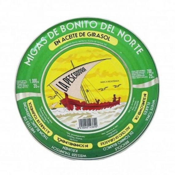 Migas de Bonito del Norte en Aceite de Girasol 1000gr. Serrats. 12 Unidades