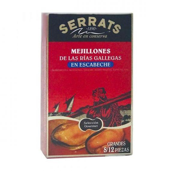 Mejillones en Escabeche (8-12 piezas) 118gr. Serrats. 12 Unidades
