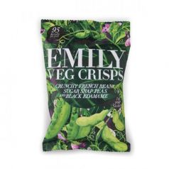 Chips de Judias Verdes y Edamame 23gr. Emilly Crisps. 12 Unidades