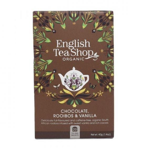 Té Rooibos con Chocolate y Vainilla BIO 40gr. English Tea Shop. 6 Unidades