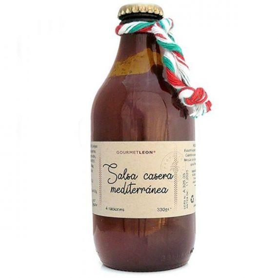 Salsa Casera Mediterránea (olivas y alcaparra) 330gr. Gourmet Leon. 12 Unidades