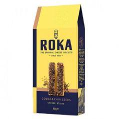 Palitos de Queso Gouda y Semillas de Chia 80gr. ROKA Cheese Crispies. 12 Unidades