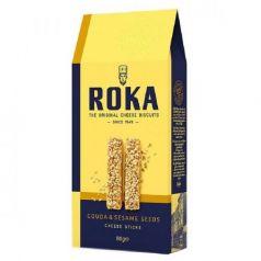 Palitos de Queso Gouda y Semillas de Sésamo 80gr. ROKA Cheese Crispies. 12 Unidades