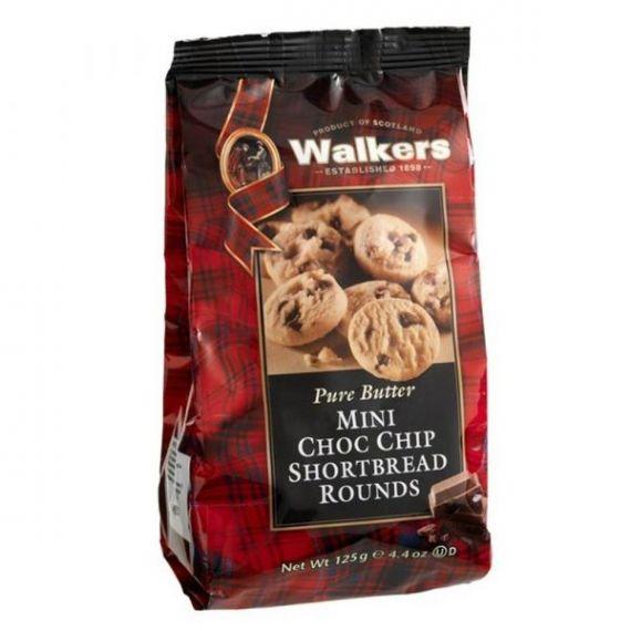 Shortbreads Rounds de Mantequilla con trozos de Chocolate Mini 125gr. Walkers. 12 Unidades
