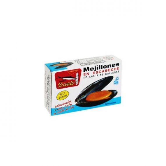 Mejillones en escabeche de Rias Gallegas (fritos en Aceite de Oliva) OL-120, 8/12u. Dardo. 50 Unidades