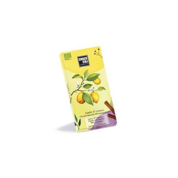 Chocolate Blanco 30% Cacao con Limón y Canela 70gr Chocolate Orgániko. 12 Unidades