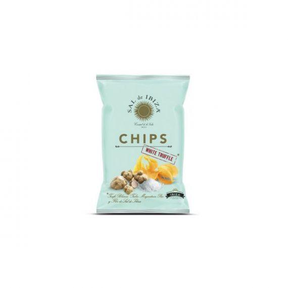 Patatas Chips con Trufa Blanca y flor de Sal de Ibiza 125gr. Sal de Ibiza. 12 Unidades