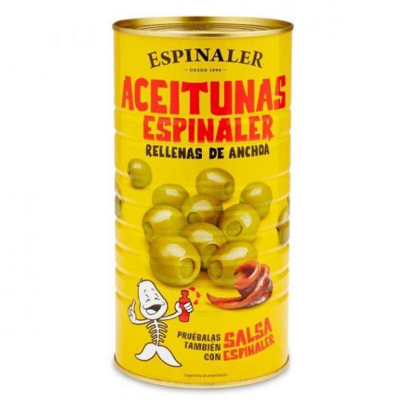 Aceitunas rellenas de anchoa 1420gr. Espinaler. 6 Unidades