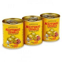 Aceitunas rellenas de anchoa pack 3x50gr. Espinaler. 16 Unidades