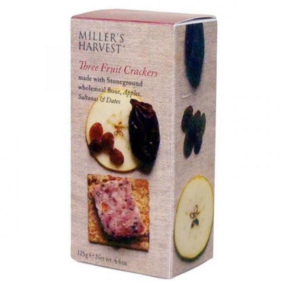 Tostaditas de tres frutas 125gr. Miller's Haverst. 12 Unidades