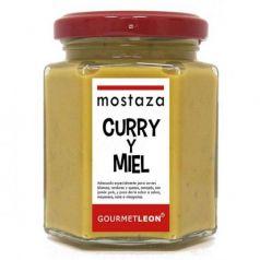 Mostaza con curry y miel 160ml. Gourmet Leon. 12 Unidades