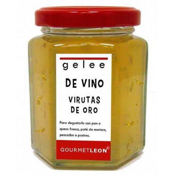 Gelée de vino con virutas de oro 160ml. Gourmet Leon. 12 Unidades