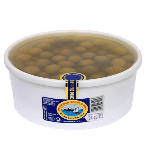 Aceituna rellena de filete de anchoa (tarrina 100 aceitunas) 680gr. Anxoves El Xillu. 2 Unidades