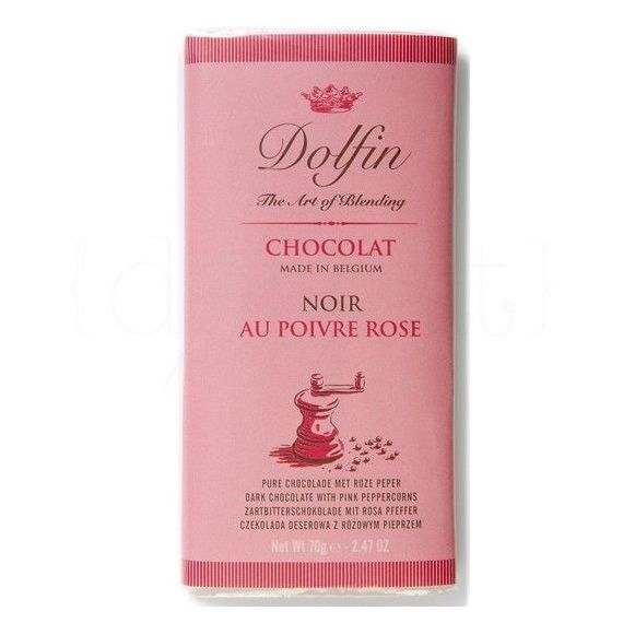 Chocolate Negro a la Pimienta Rosa 70gr. Dolfin. 15 Unidades