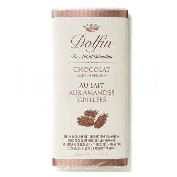 Chocolate con leche y Almendras tostadas 70gr. Dolfin. 15 Unidades