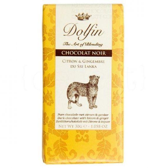 Chocolate Negro con Limón y Jengibre de Sri Lanka 30gr. Dolfin. 25 Unidades