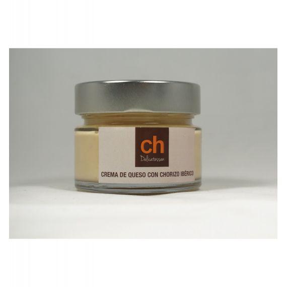Crema de queso con chorizo iberico