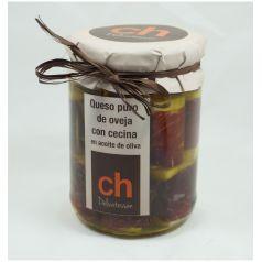 Queso puro de oveja con cecina en aceite de oliva virgen