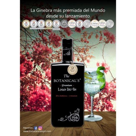 Gin The Botanical's, 100 cl. 42,5º - The Botanical's Premium London Dry Gin (MEDALLA DE ORO IWSC)