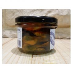 Pickled mussels in glass pot