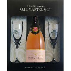 Pack Champagne Martel Rosé Brut 75 cl. 12º + Pack + 2 Copas