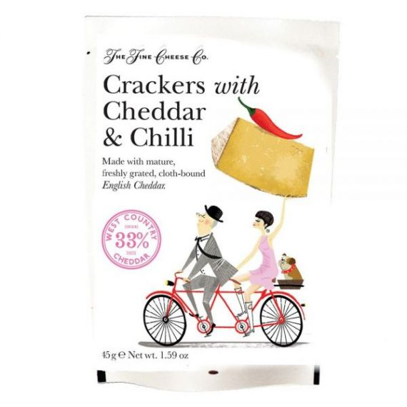 Aperitivos de Queso Cheddar y Chili 45gr. The Fine Cheese Co