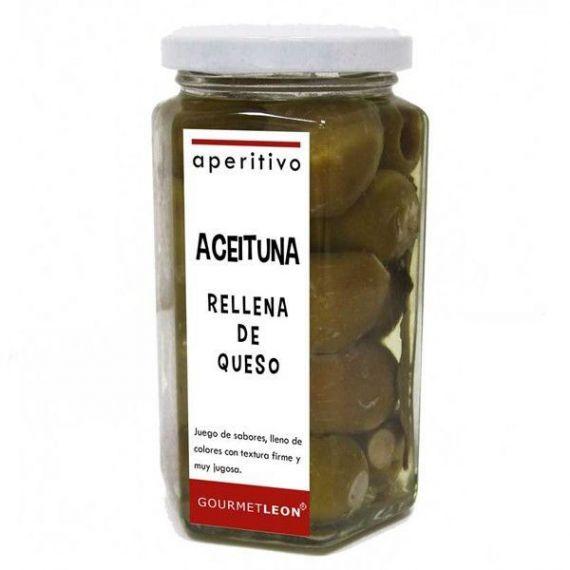 Aceitunas verdes rellenas de queso 250gr. Gourmet Leon