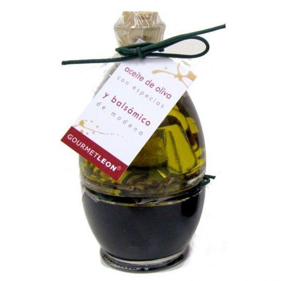 Conjunto Vinagre Balsámico y Aceite AOVE (2 botellas) 100ml. Gourmet Leon