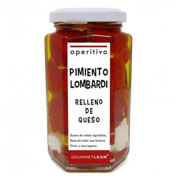 Pimiento lombardi relleno de queso 250gr. Gourmet Leon