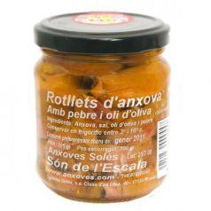 Rollitos de anchoa en aceite de oliva y pimienta 205gr. Salaons Solés. 9 Unidades