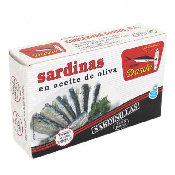Sardinillas en aceite de oliva RR-125, 14/18u. Dardo. 50 Unidades