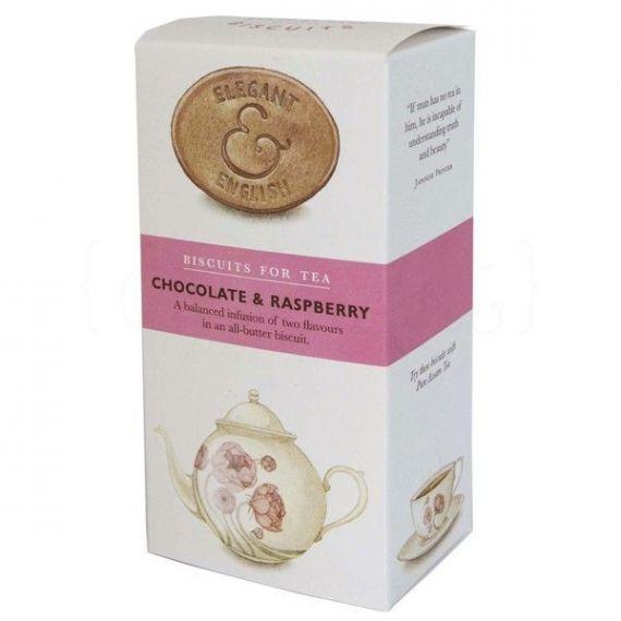 Galletas de mantequilla con chocolate negro y frambuesa 125gr. Elegant & English. 12 Unidades