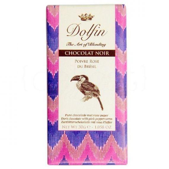Chocolate Negro con Pimienta Rosa de Brasil 30gr. Dolfin. 25 Unidades