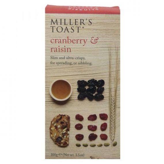 Tostaditas de Arándanos y Pasas 100gr. Miller's Toast. 6 Unidades