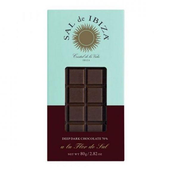 Chocolate Negro con Sal de Ibiza Bio 80gr. Sal de Ibiza. 12 Unidades
