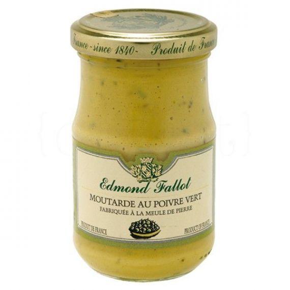 Mostaza a la pimienta verde 210gr. Edmond Fallot. 12 Unidades