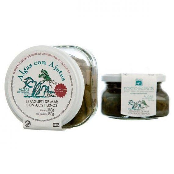 Espagueti de Mar con ajos tiernos Ecológico (cristal) C212. Porto-Muiños. 12 Unidades